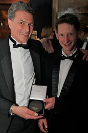 .       Alasdair Flint and Tim Loftus receiving their prestigious Tilman medal from the Royal Cruising Club