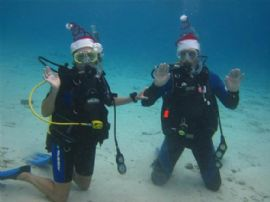 Bonaire is known for its fantastic diving. Here they were wishing their friends and family a Happy Christmas!