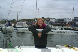 Pip Hare prepares for the UK Mini Transat race in Lymington
