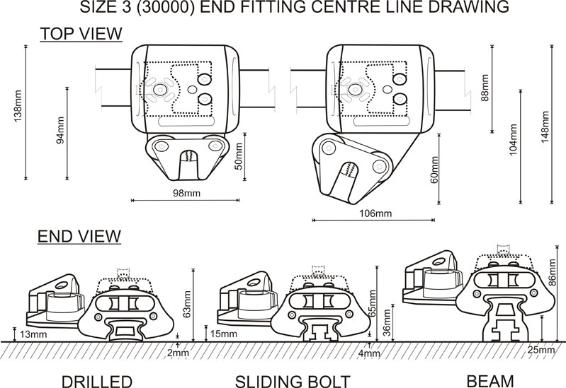 Size 3 (30000 Range) End Fitting CL Drawing
