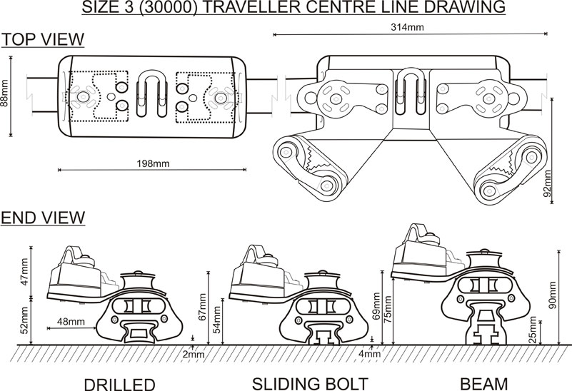 Size 3 (30000 Range) Traveller CL Drawing